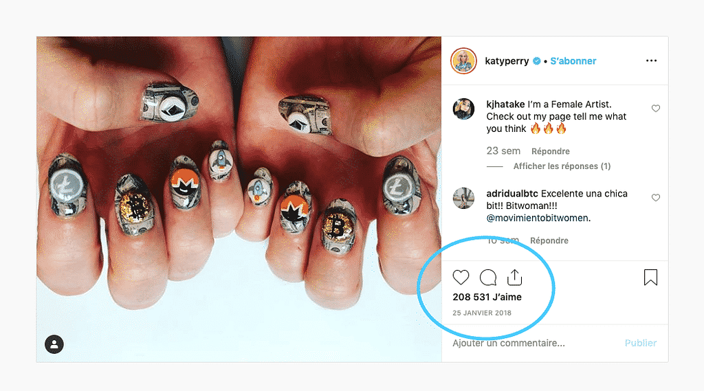 Katy Perry calling the top of cryptobubble with her nail's insta post