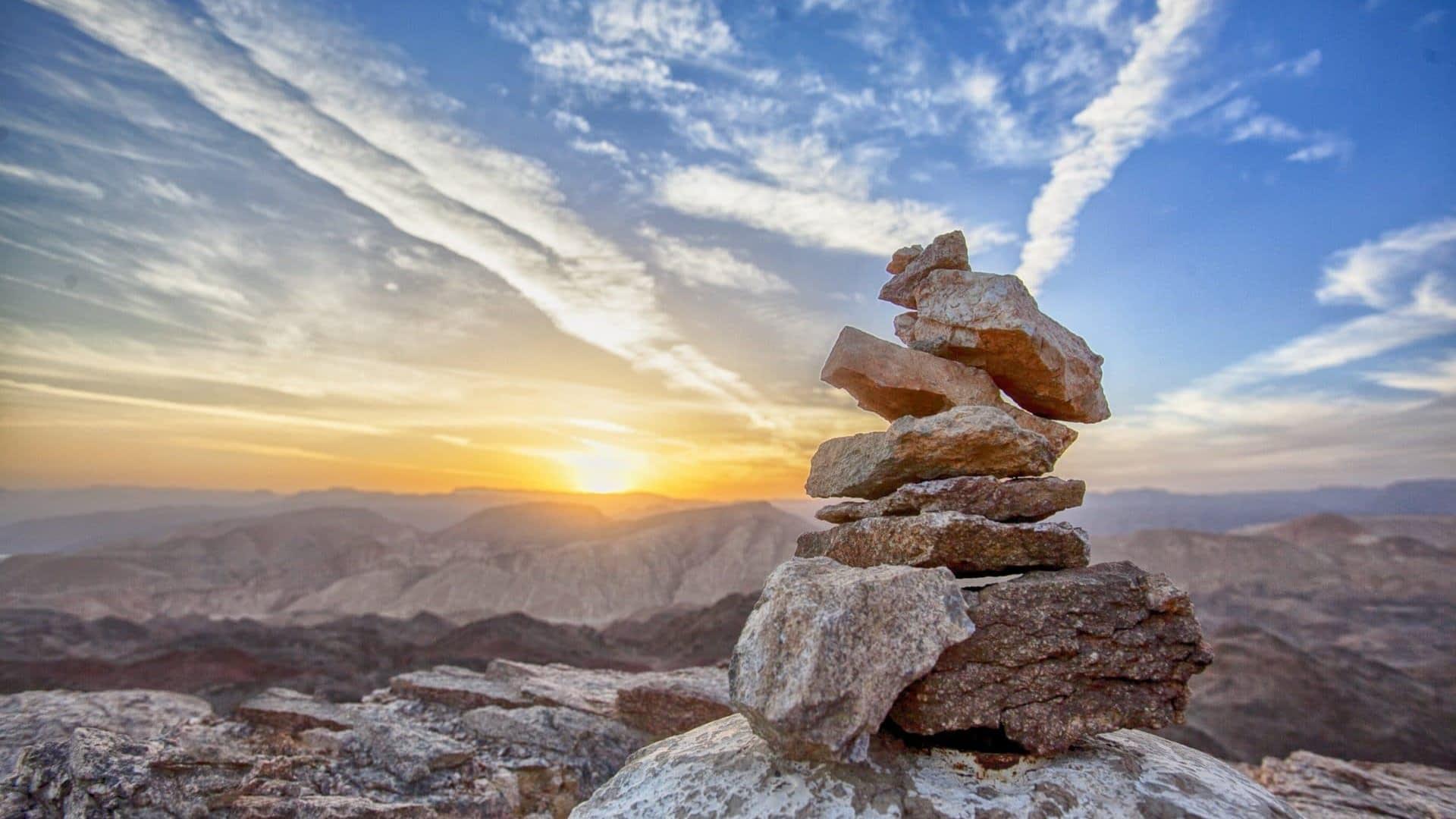 blue sky zen balanced rocks
